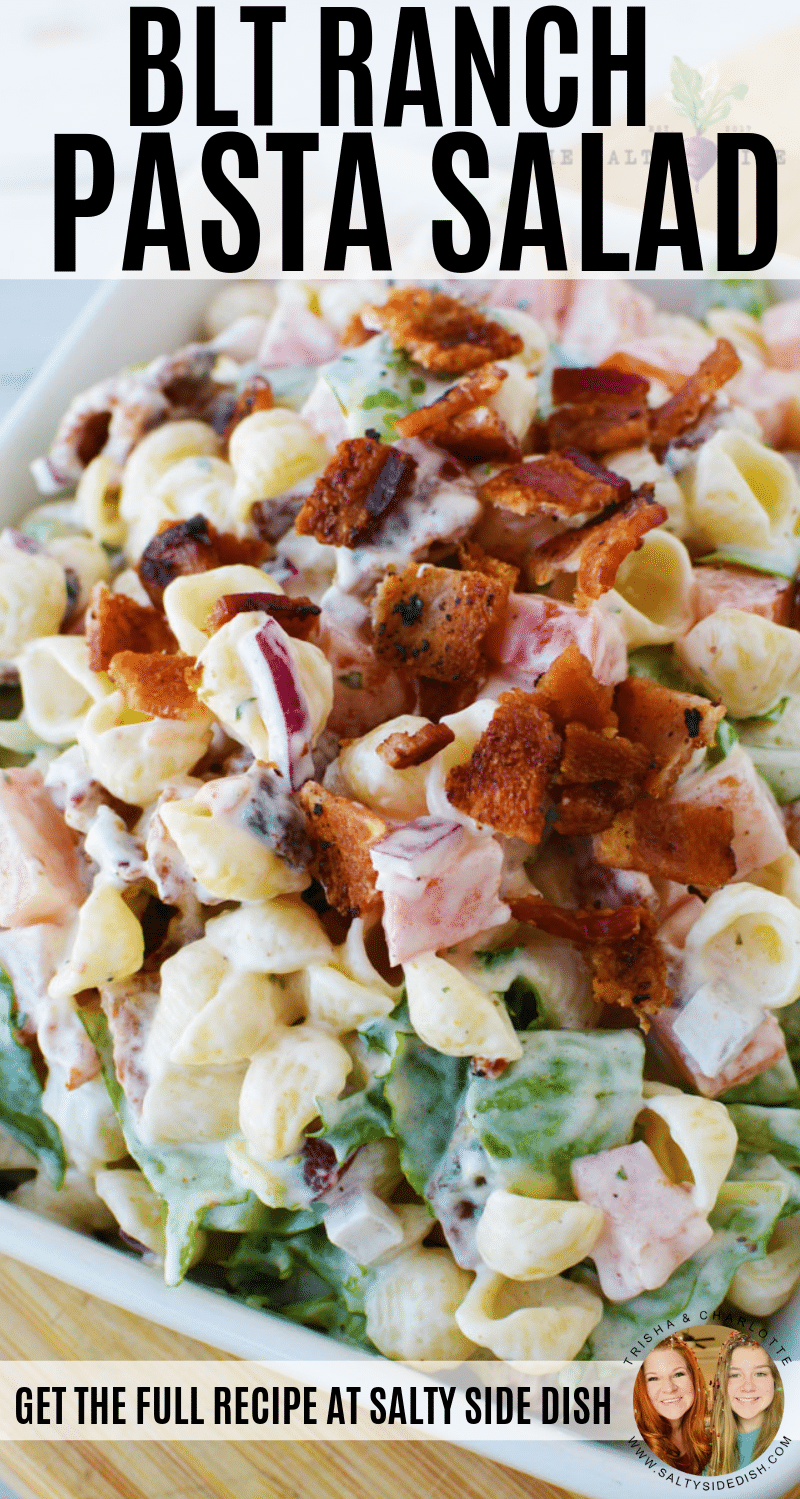 BLT Pasta Salad with Ranch dressing is the PERFECT simple potluck picnic salad #salad #pastasalad #potluck