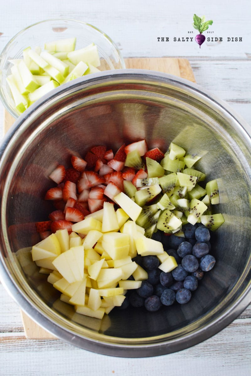 mix up your fruit salsa in a bowl