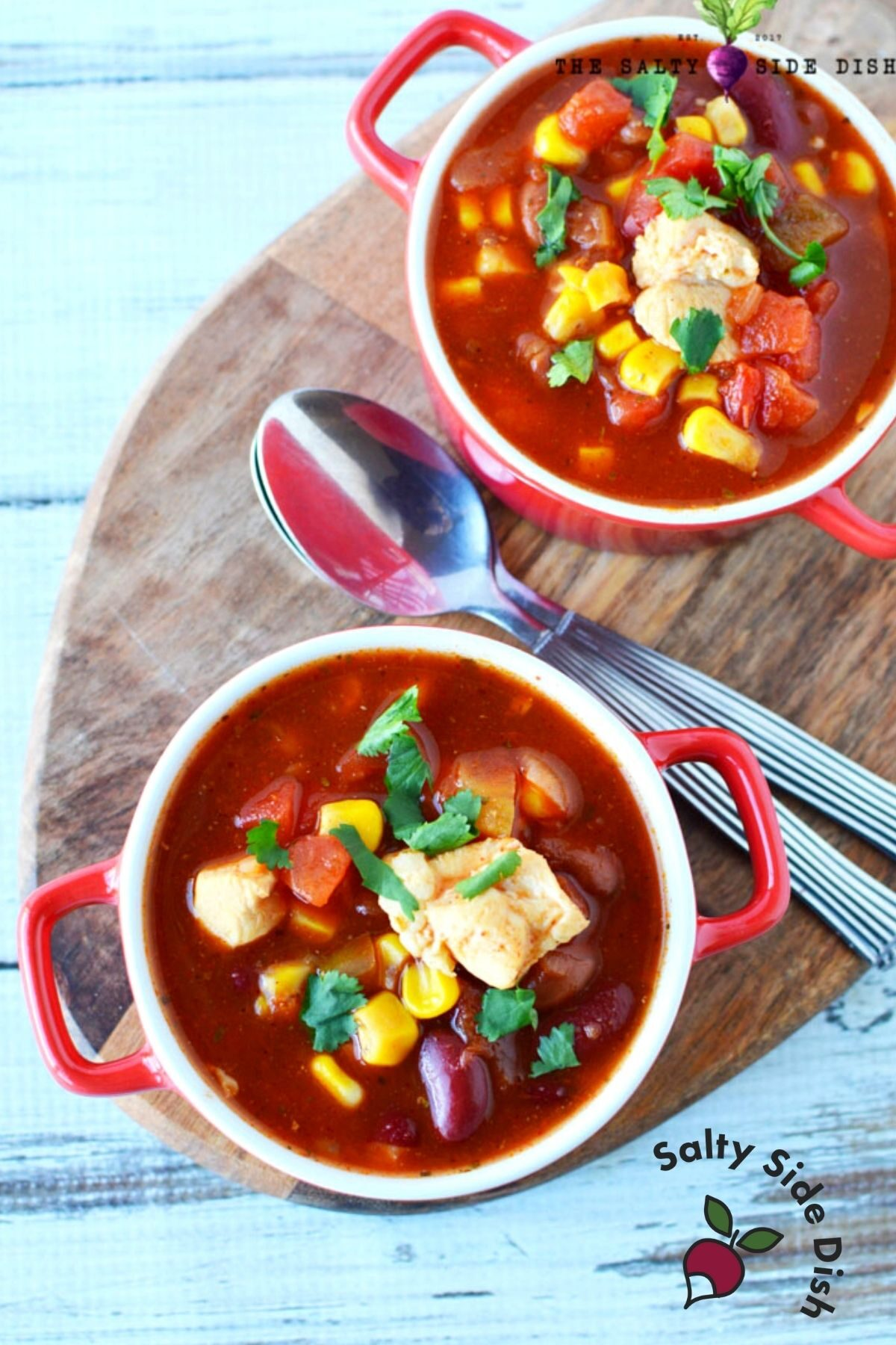 Mexican chicken chili soup with two bowls.