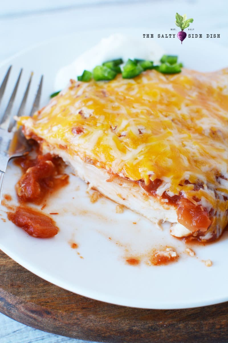 salsa chicken recipe on a plate with cheese