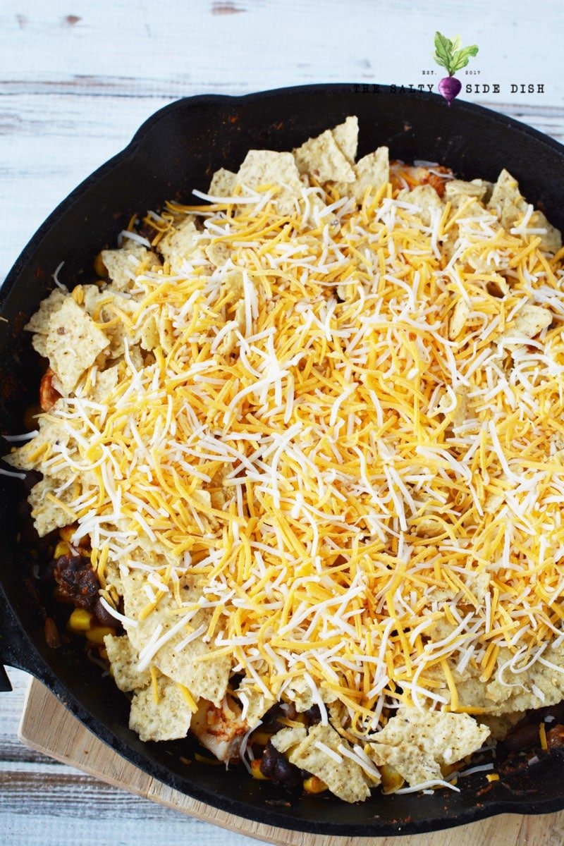 top your Mexican Chicken Casserole with chips for a great crunch