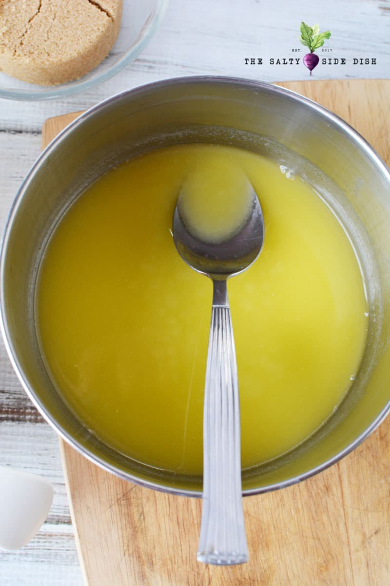 melted butter in a saucepan