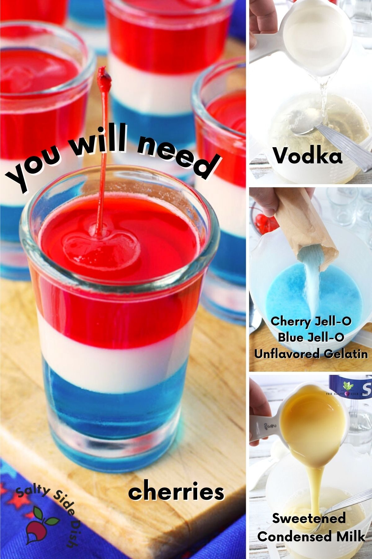 collage of layered jello shots with 4 ingredient images.
