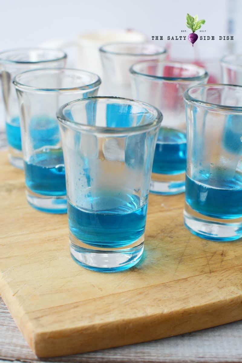 blue shots with jello layered