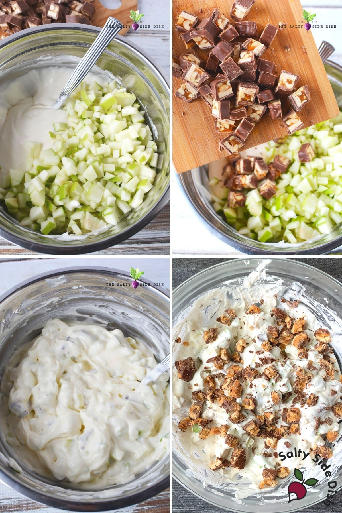 adding Snickers candy bar and apples to pudding