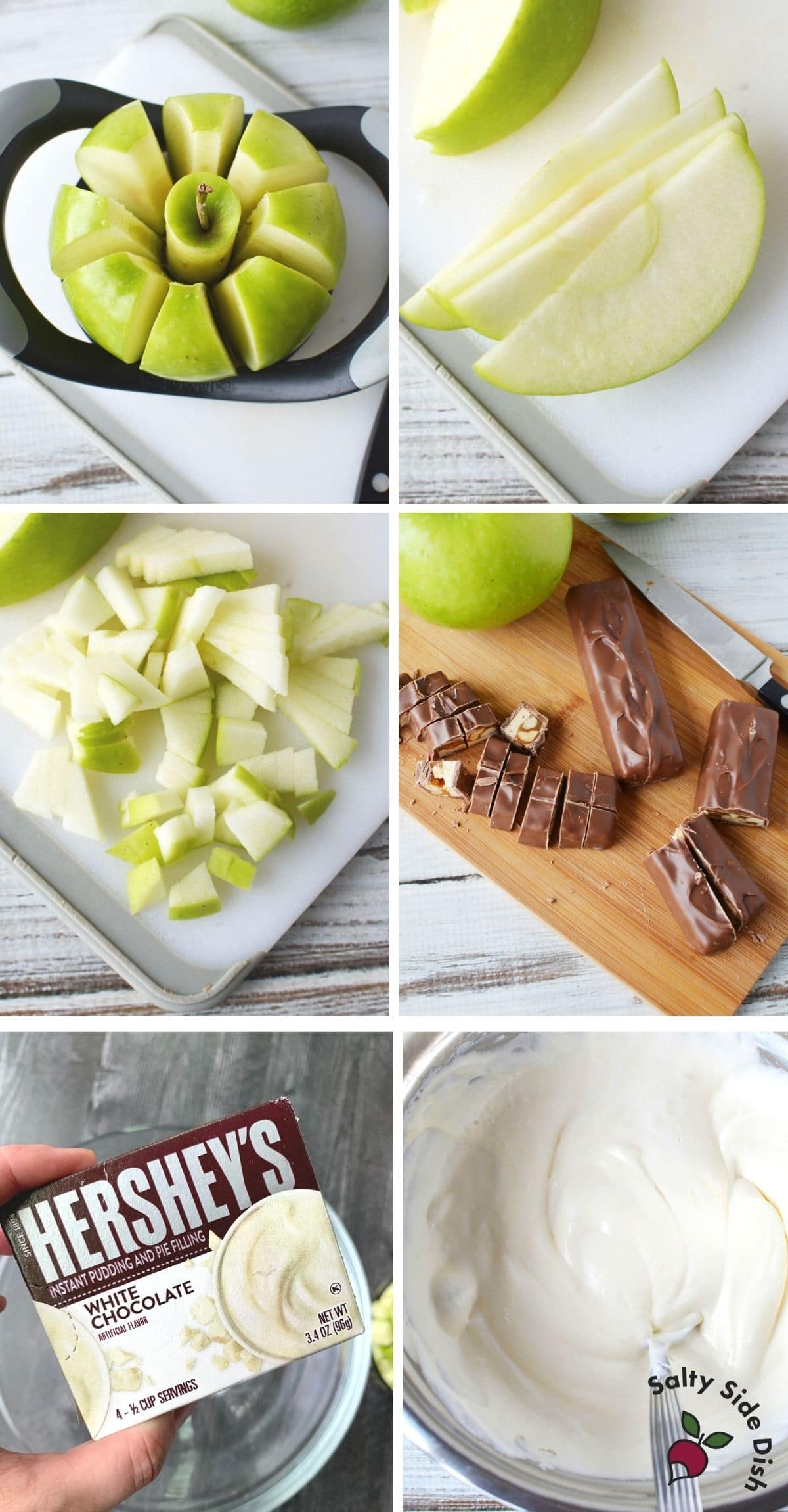 snickers salad with apple being cut up, candy bar being cut up and box of pudding being made