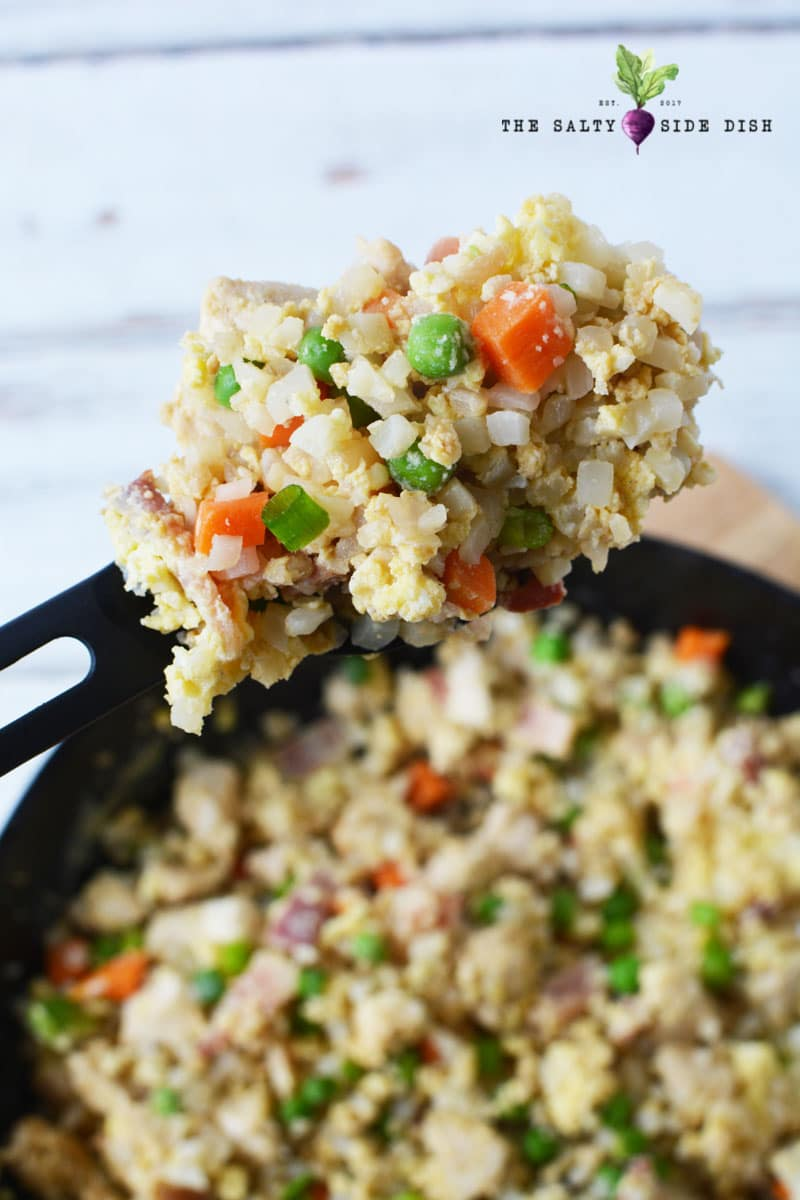 Keto friendly chicken fried rice recipe made with cauliflower
