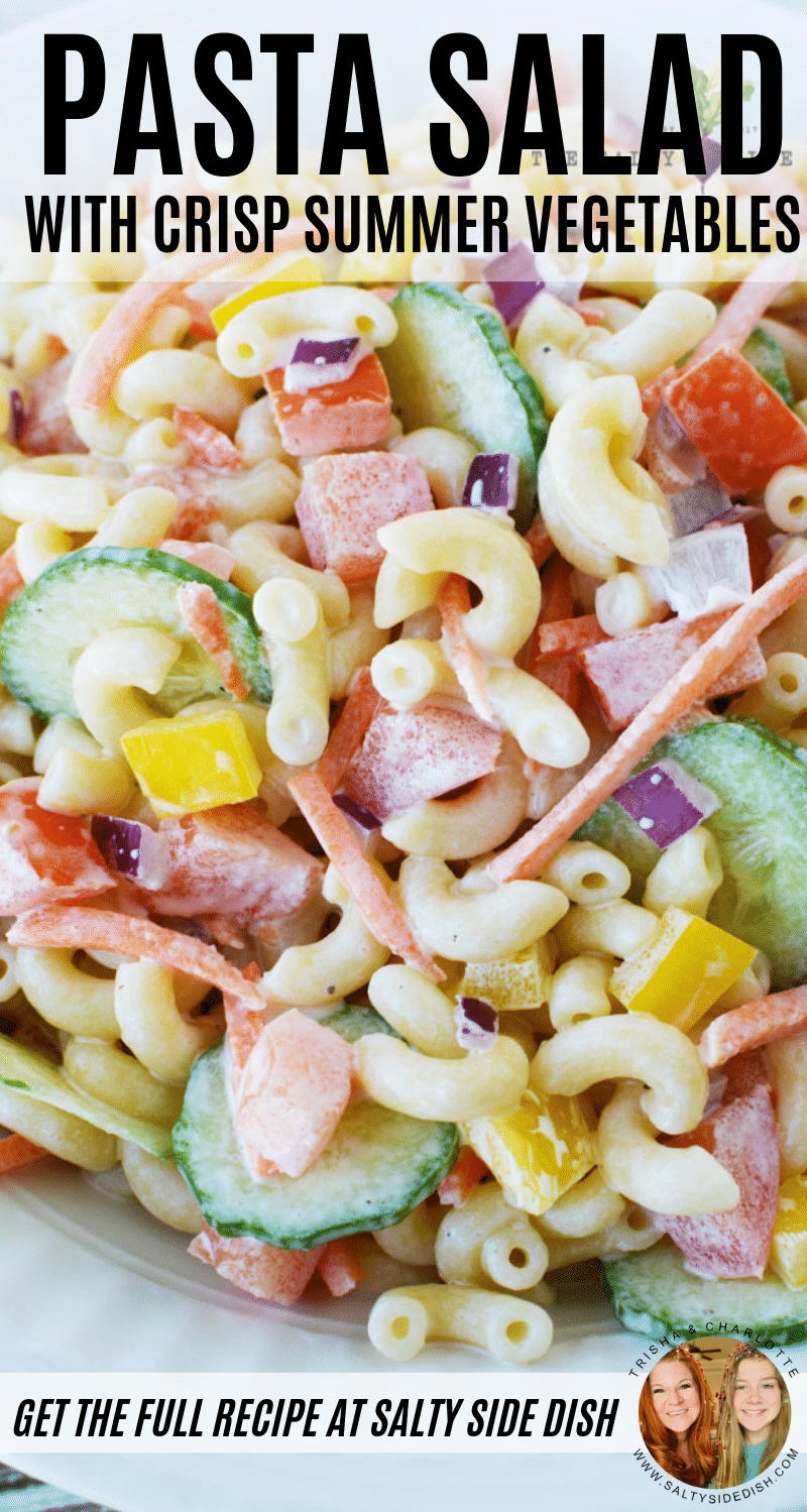 Vegetarian Pasta Salad - Cold Macaroni Pasta Salad Side Dish with Crisp Summer Veggies