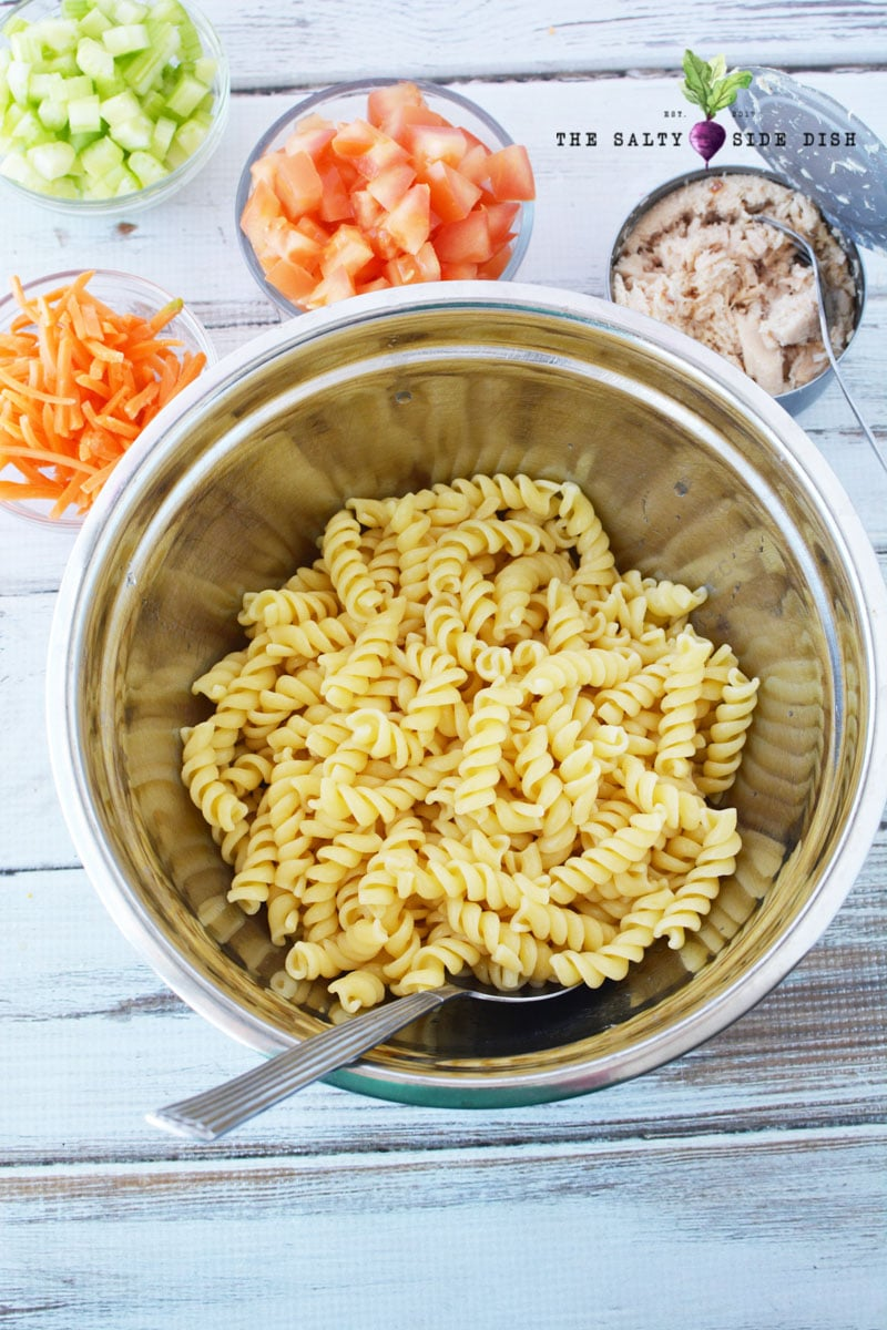 Tuna Pasta Salad Recipe in a bowl with drained pasta