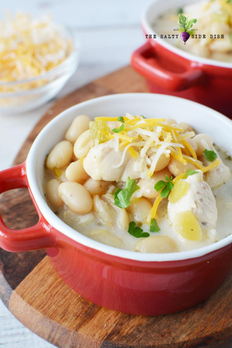 Easy White Chicken Chili with Northern Beans in a serving dish