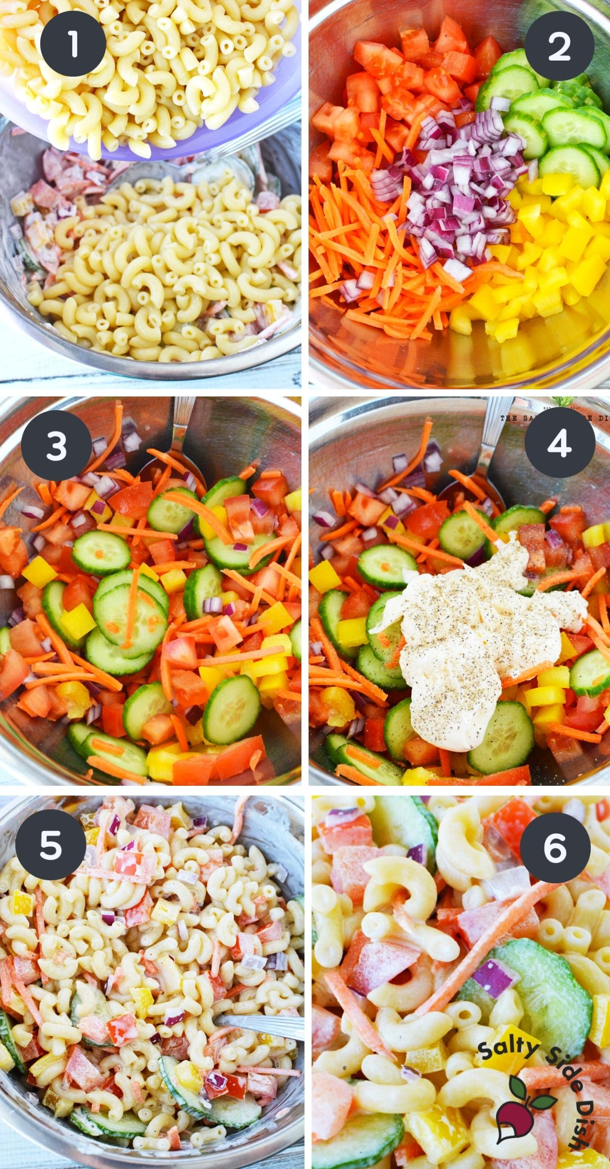 6 image collage of how to make cold vegetable macaroni pasta salad.