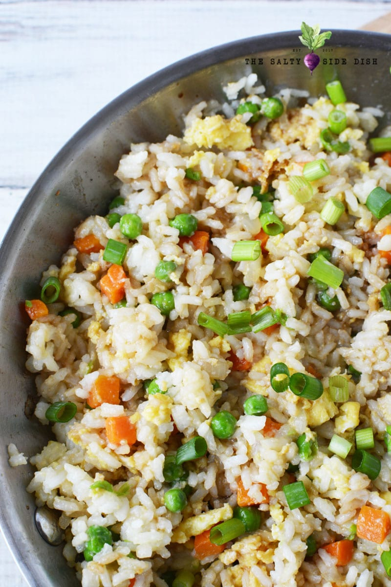 amazing and easy fried rice in a skillet