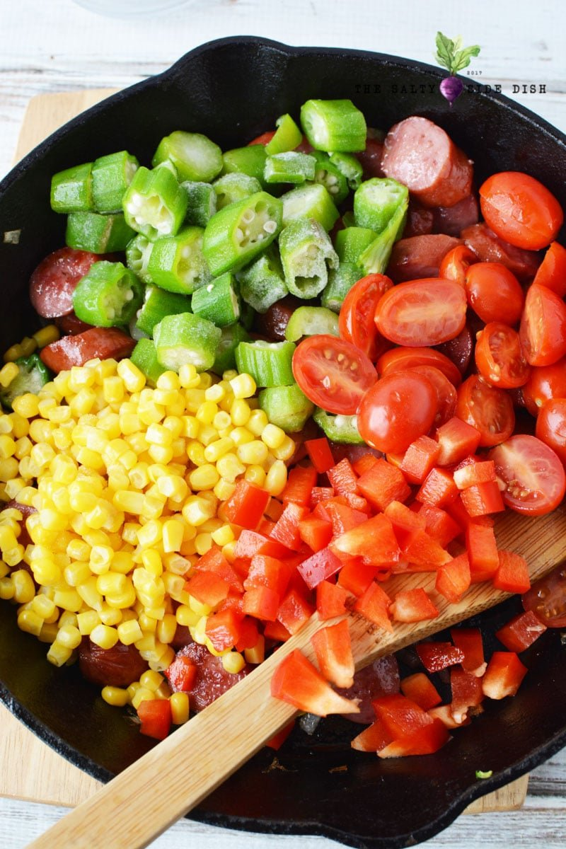 okra, corn, tomatoes