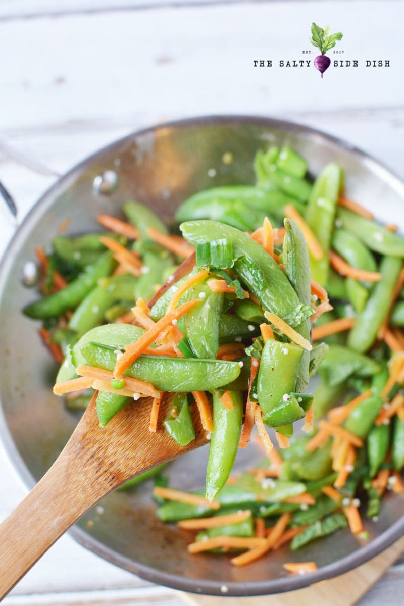 delicious sugar snap peas recipe with garlic and matchstick carrots