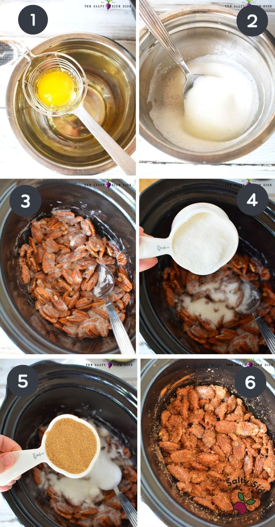6 image collage of step by step how to make candied pecans in a slow cooker