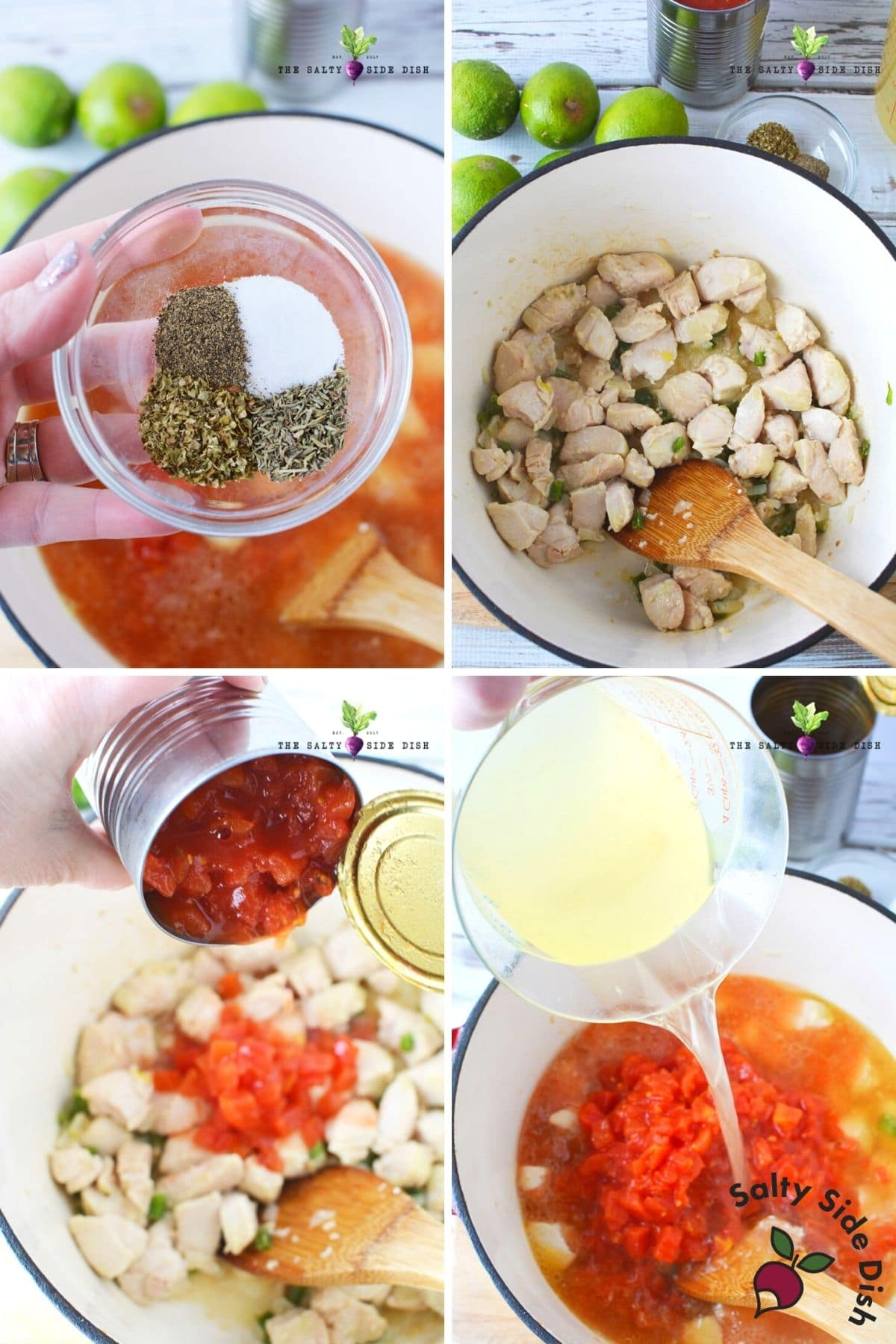 pouring seasonings, tomatoes and broth into chicken soup