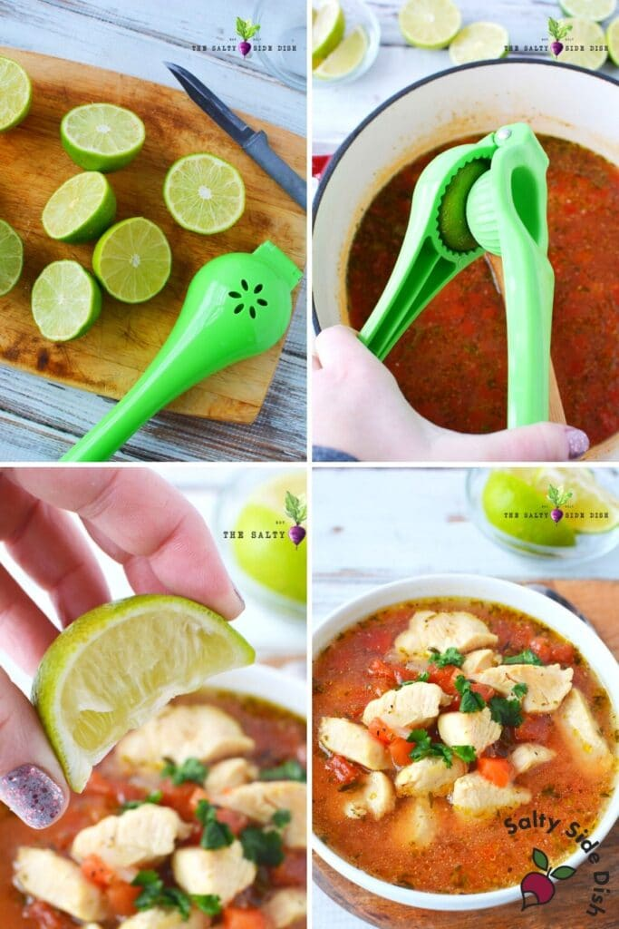 squeezing lime in a chicken soup