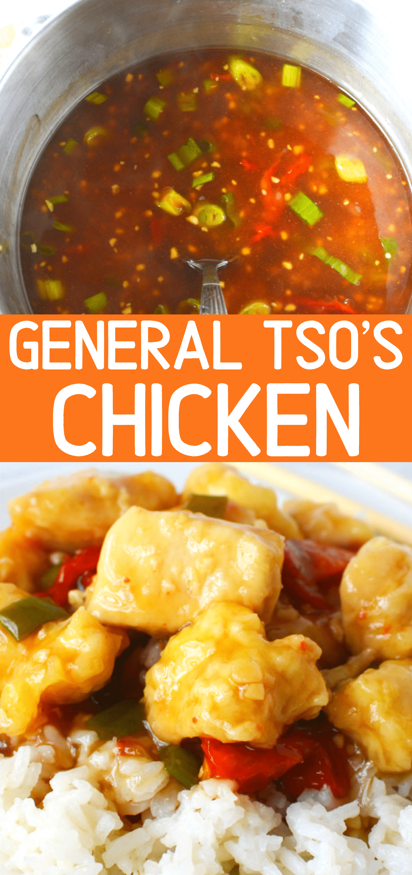 General Tso's Chicken Recipe, an easy Chinese restaurant copycat Recipe with garlic and ginger #chicken #recipes #chinesefood #takeout #dinner