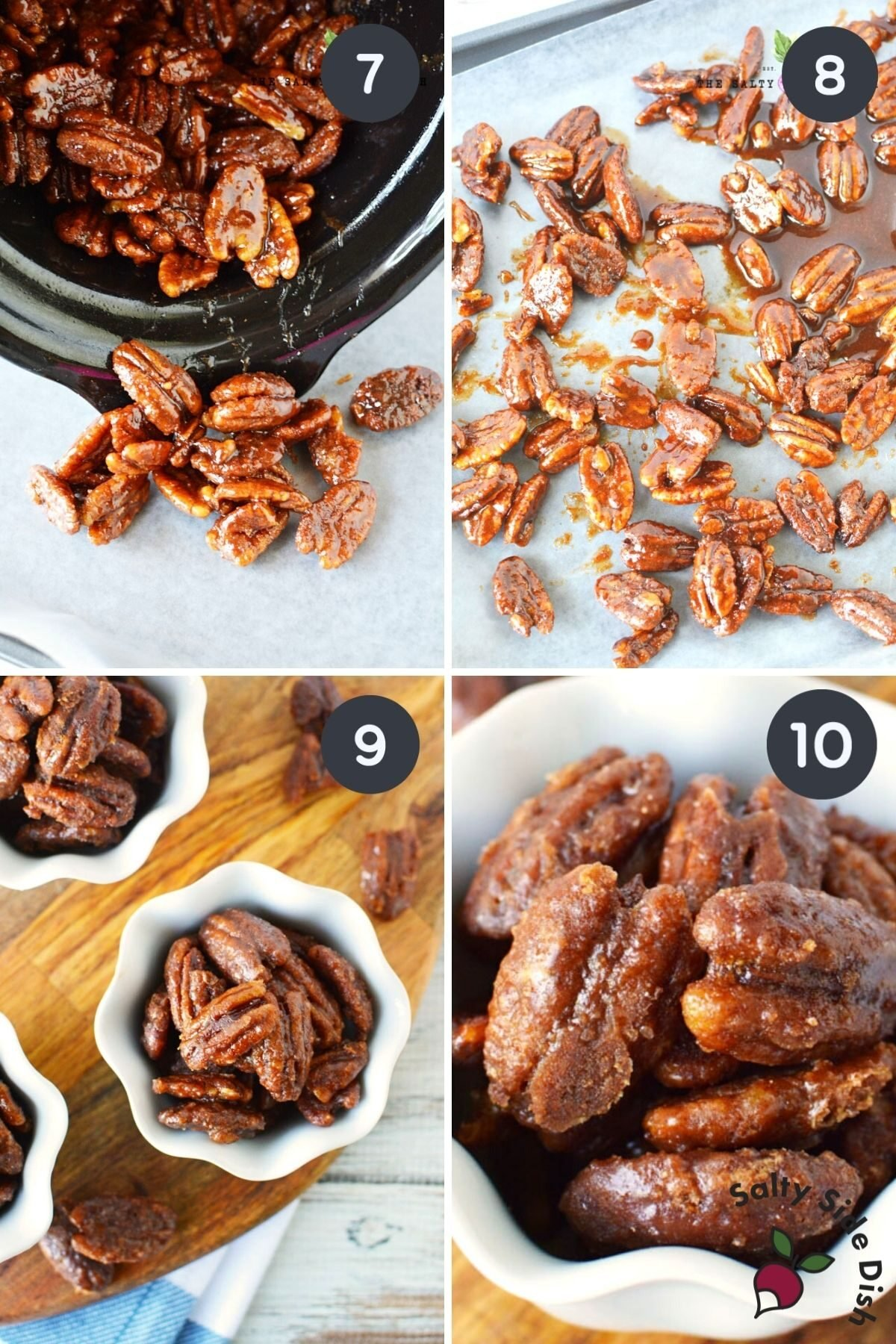 step by step of 4 images showing how to harden candied pecans