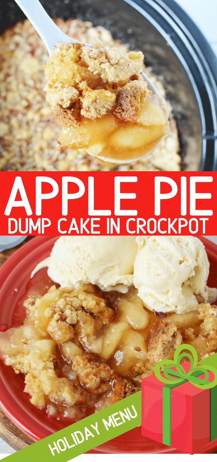 Apple Dump Cake | BEST Crockpot Apple Pie Dump Cake, so Easy to make, mix and go #apple #applepie #crockpot #slowcooker #appledesserts #dessert #thanksgiving #holiday #christmas
