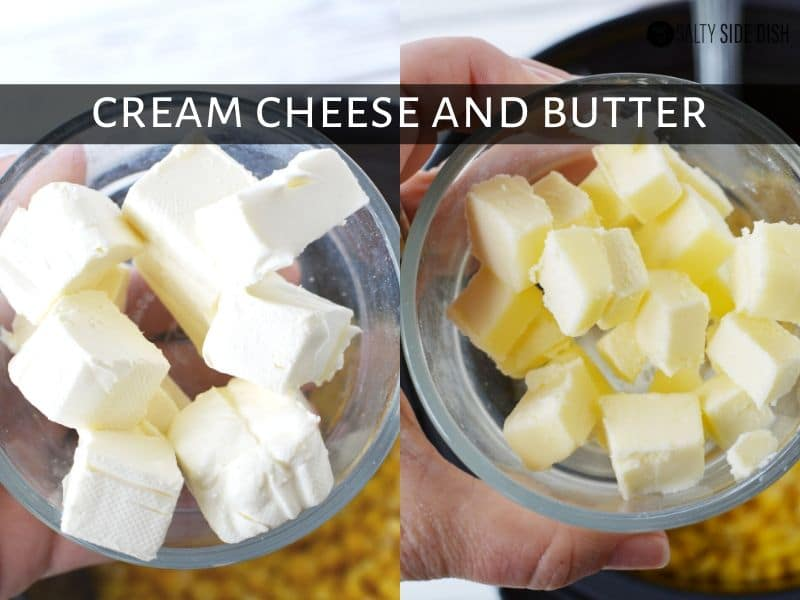 cream cheese and butter cubed up