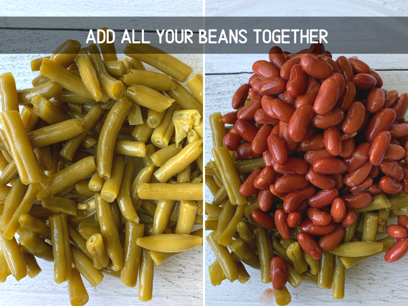 green beans and kidney beans mixed together in a bowl