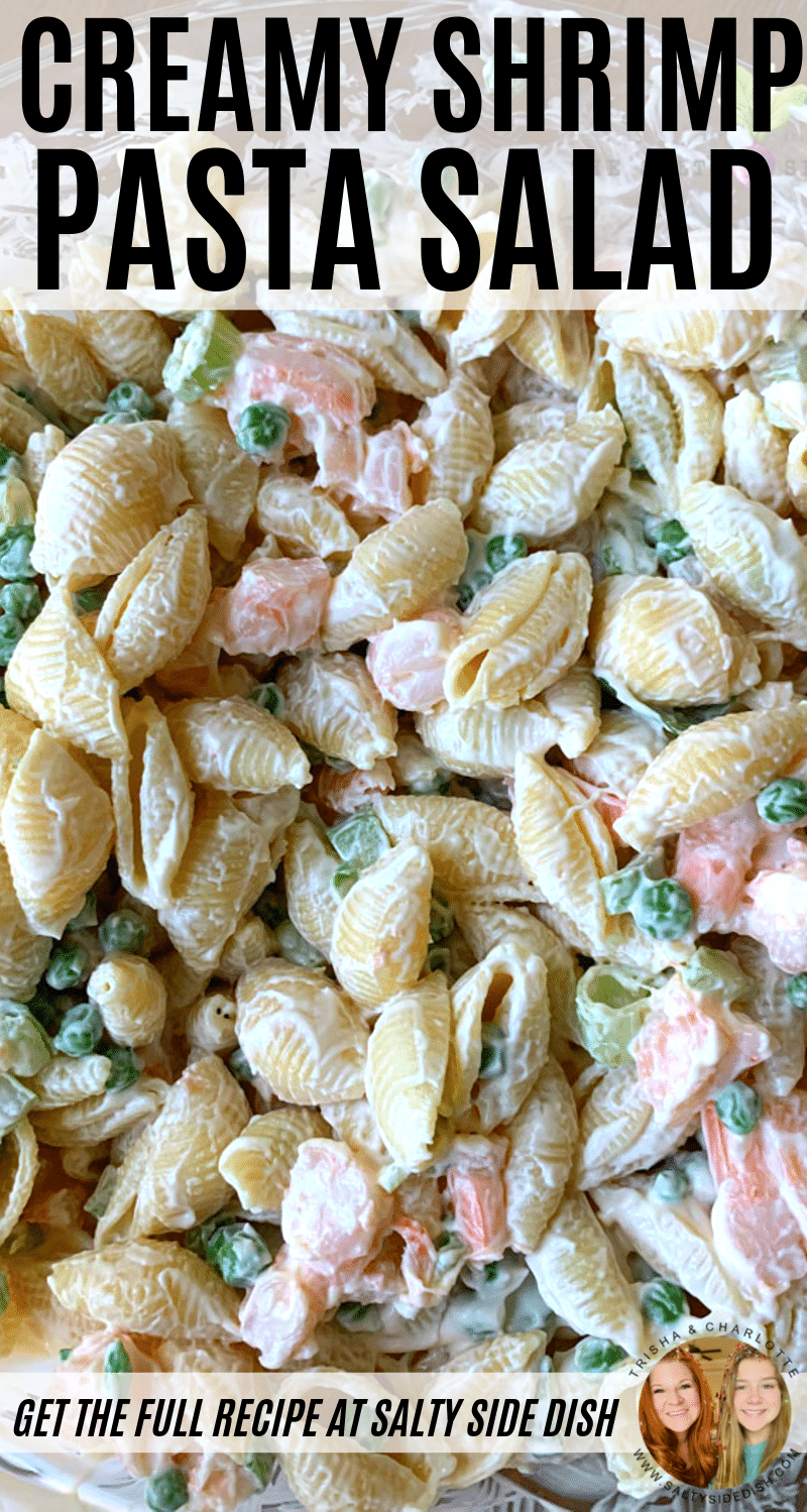 Seafood shrimp pasta salad with creamy mayo dressing and lemon in a bowl with video