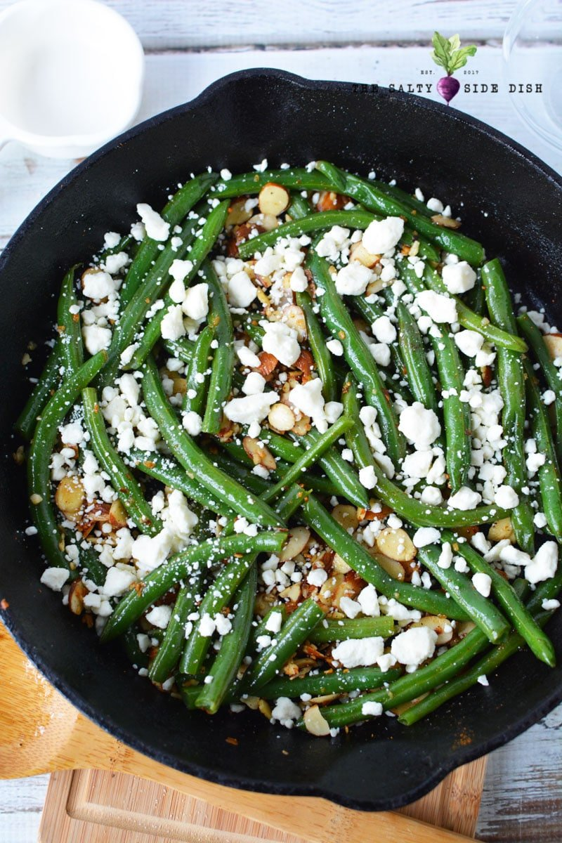 green beans almondine with feta cheese recipe to enjoy as a side dish