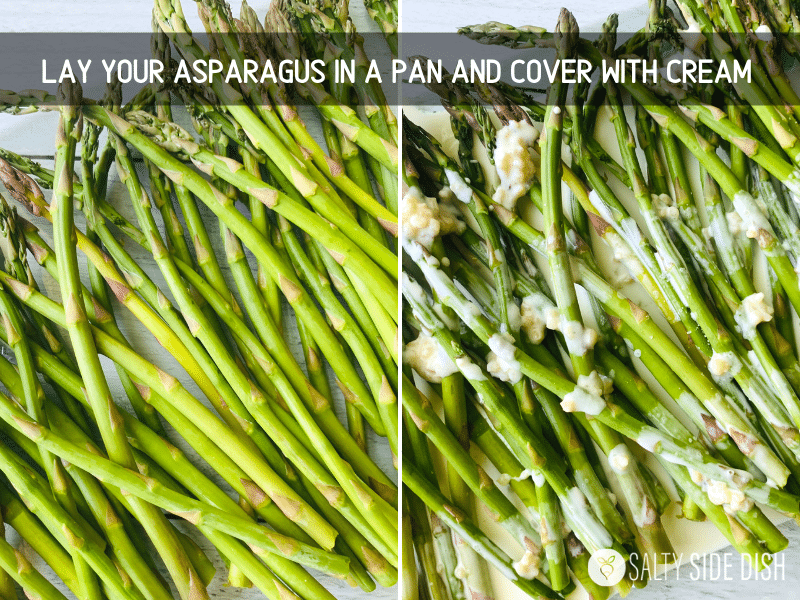 instructions on assembling asparagus in a casserole dish