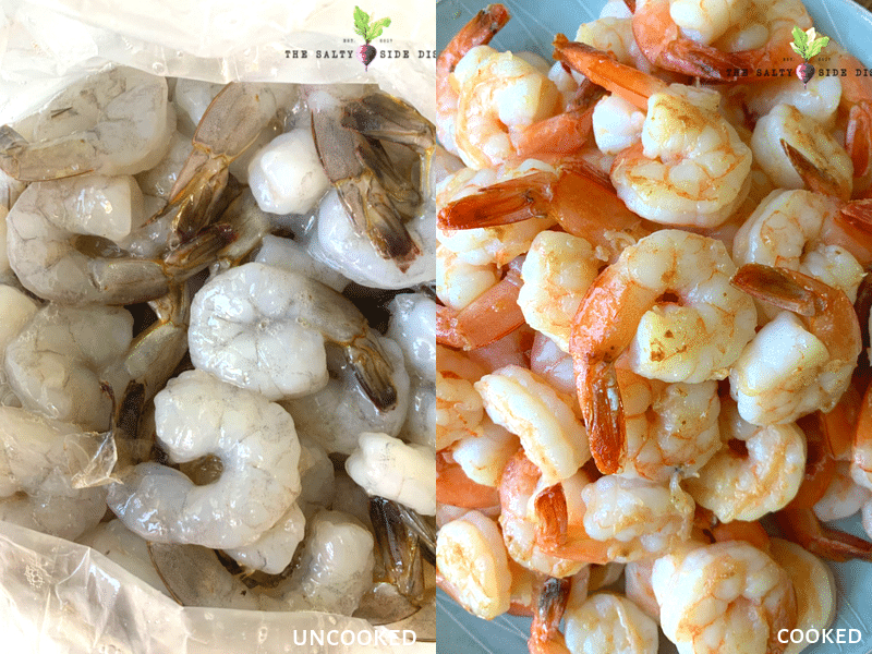 precooked shrimp and cooked shrimp ready for a salad