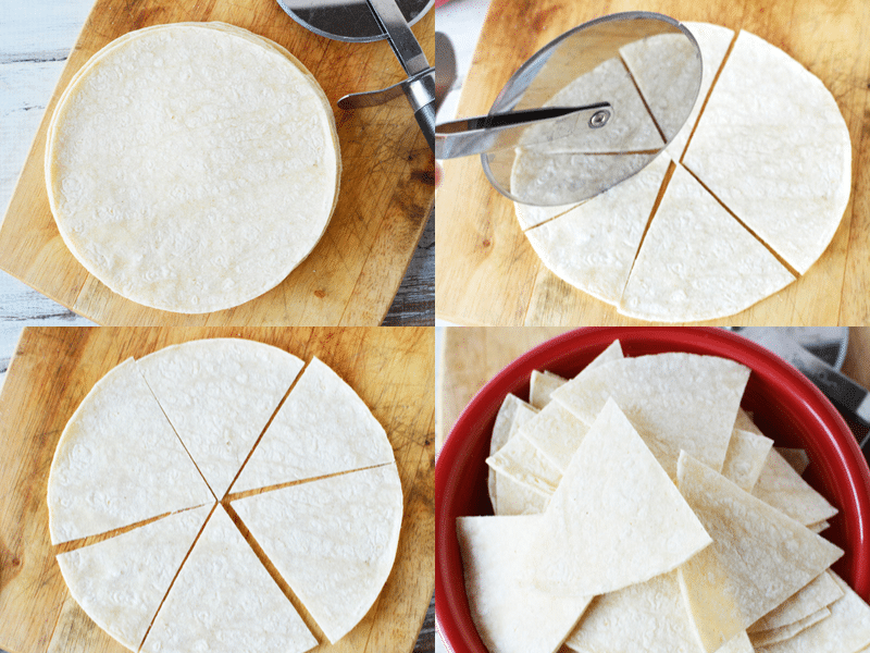 cut tortillas in batches with a pizza roller in 6 even slices