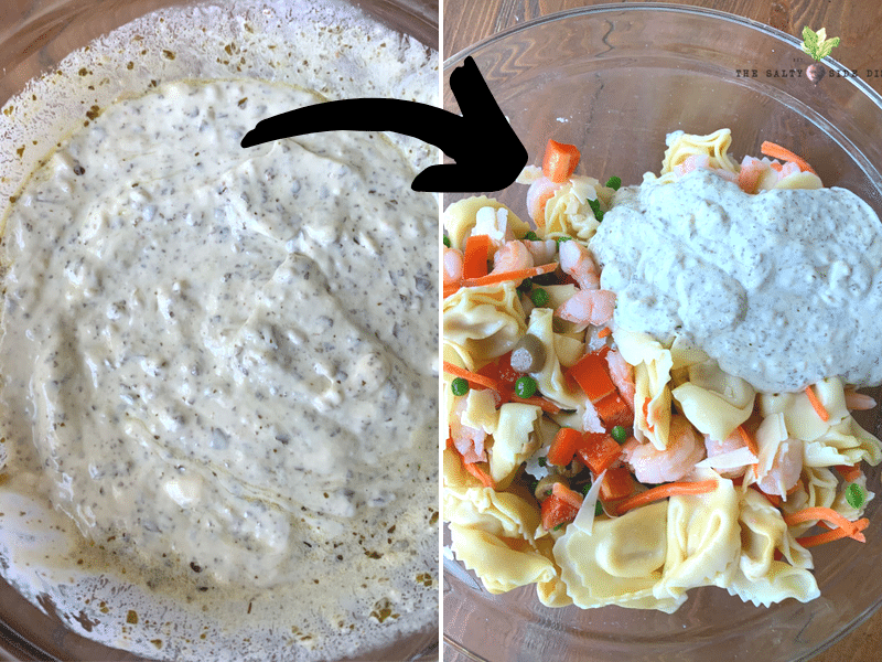 make your dressing and add directly to bowl of pasta and vegetables