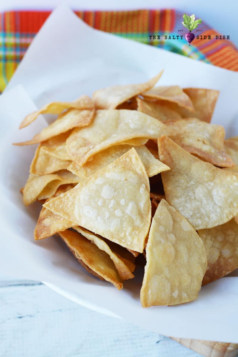 Homemade Corn Tortilla Chips made from corn tortillas in a basket ready to serve