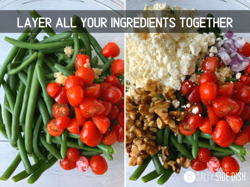 layering ingredients in a bowl for green bean salad