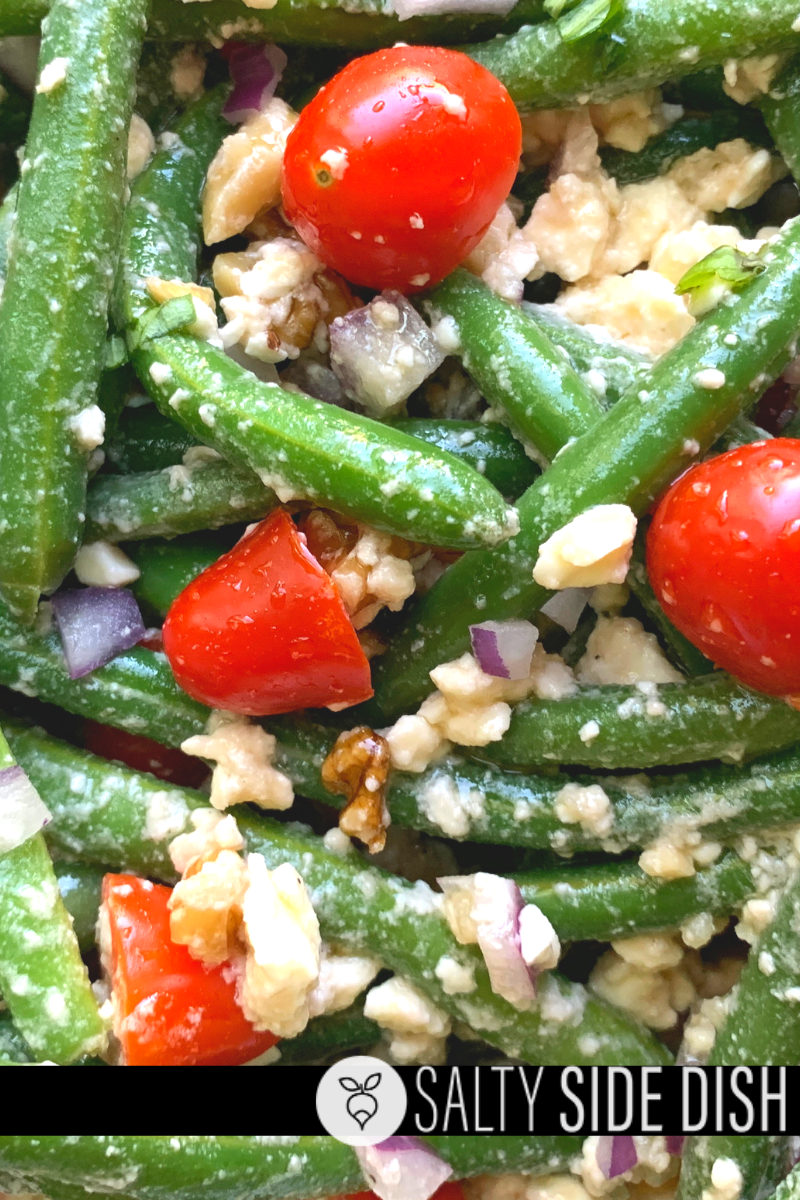 green bean salad chilled with tomatoes and feta cheese