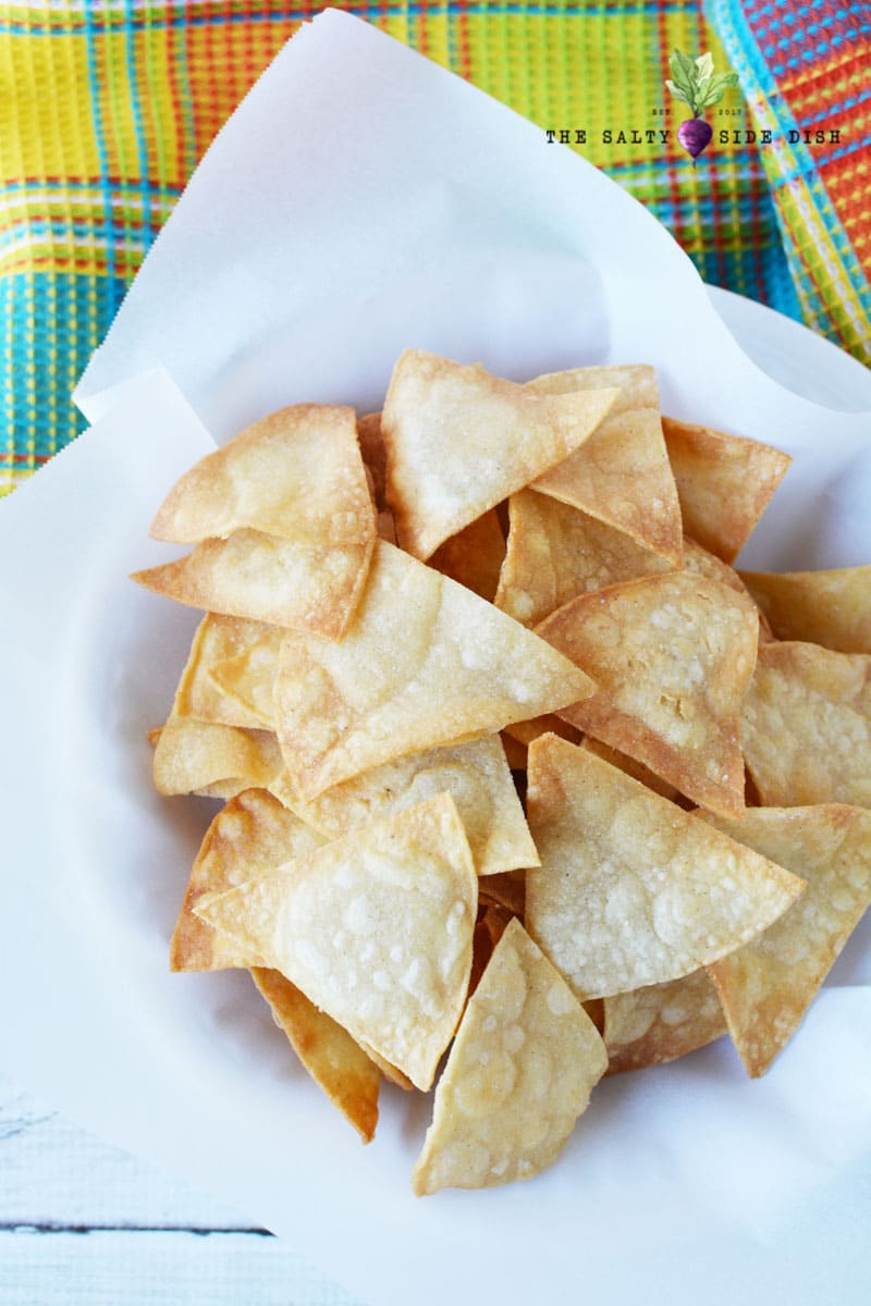 chips in batches on a plate ready to serve homemade easy chips