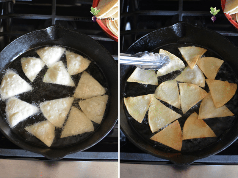 fry oil up and put in corn tortillas for fresh homemade chips in minutes