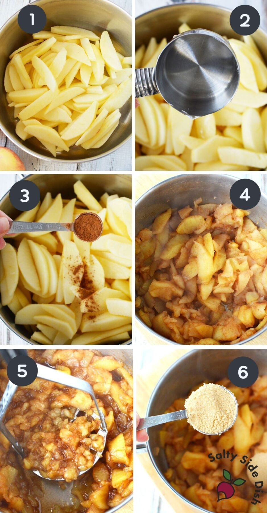 step by step image collage of how to make homemade applesauce.