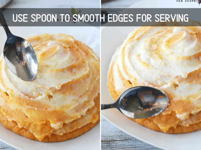 using a spoon to smooth edges for serving twirly potatoes