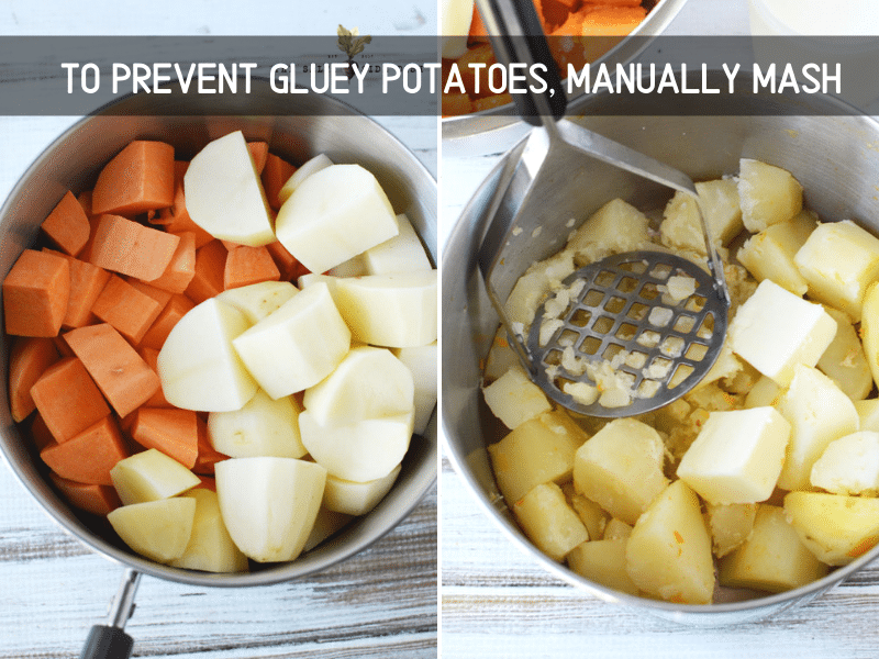 prevent gluey potatoes by manually mashing them, potatoes done but in a pot