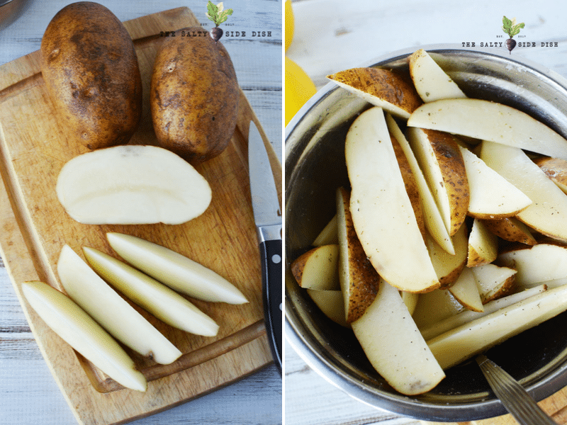 cutting up Russet potatoes into 8 pieces and piling up to be baked