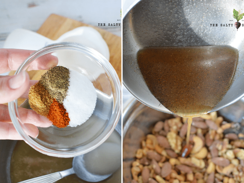 spices and syrup being added to nuts