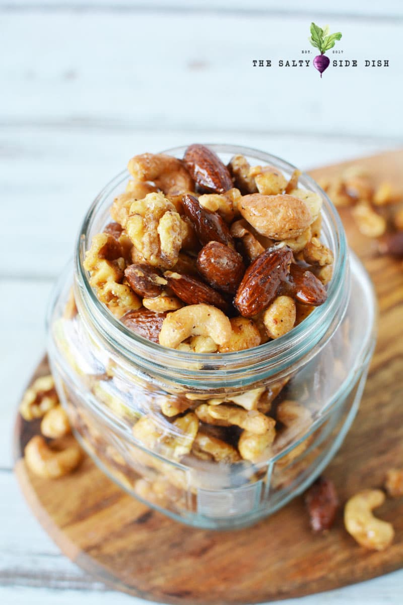 spiced nuts in a jar