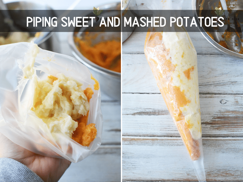 showing how to pipe potatoes in a pipping bag and mixing them up