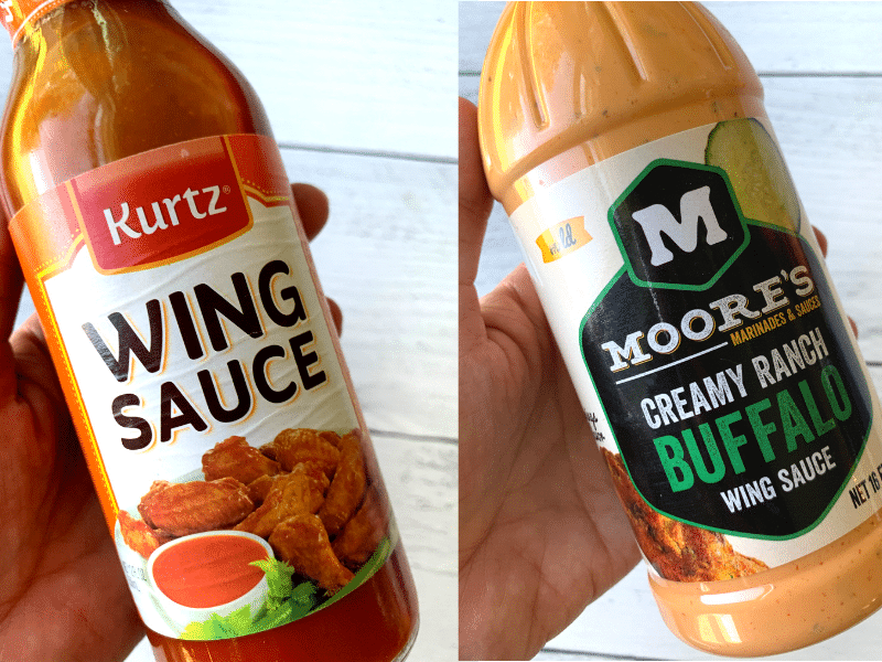 wing sauce and creamy buffalo sauce bottles