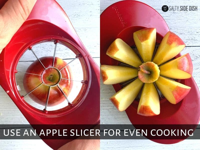 apple slicer being demonstrated