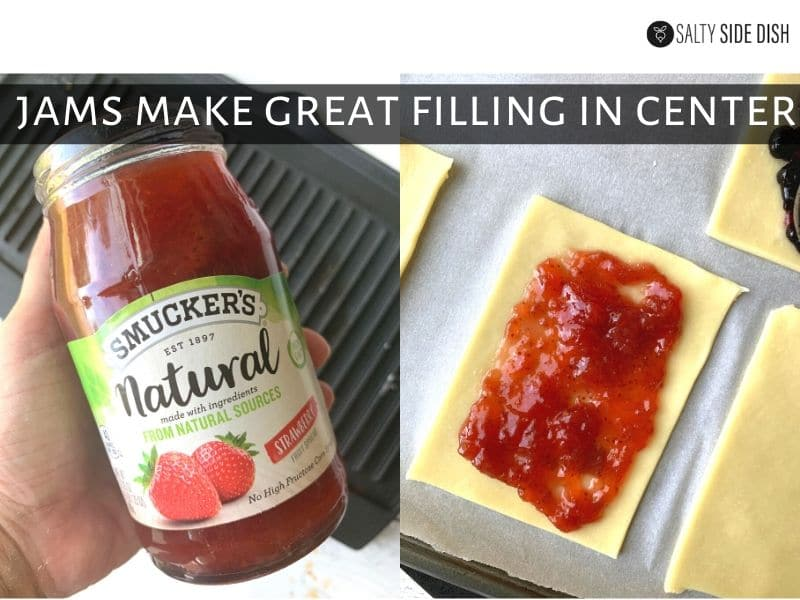 fill homemade pie pastry with strawberry jams