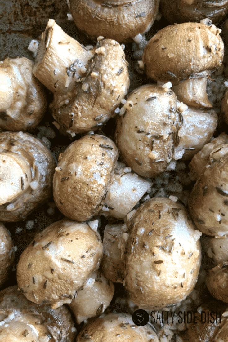 15 Minute Roasted Garlic Mushrooms Side Dish Recipe