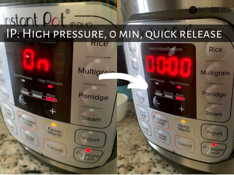 turn pressure cooker on, to high pressure and 0 minutes