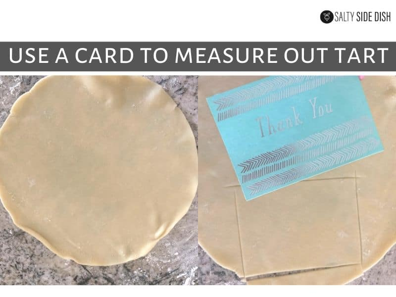 measure out pie pastry with a note card or index card
